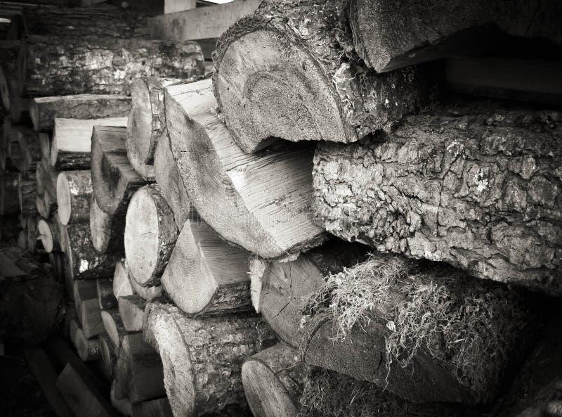 Pile en bois en noir et blanc photographie stock