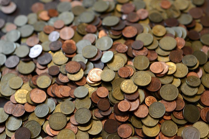 Pile of euro cent coins. Many small coins od a robbed piggy bank stock photo