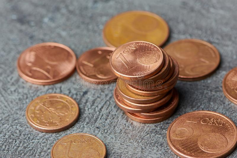 Pile of euro cent coins stock images