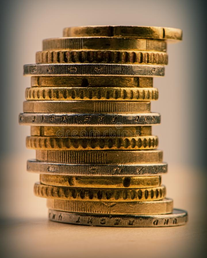 Pile of euro cents. Euro money. Currency of the European Union stock image