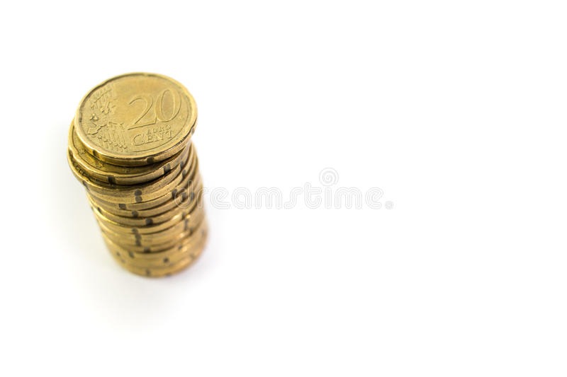 Pile of 20 euro cents royalty free stock photography