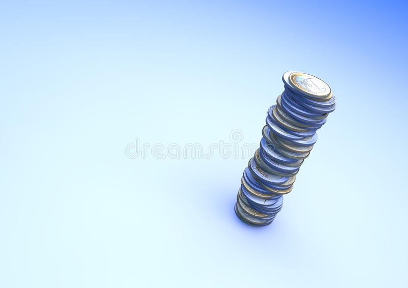 Pile of Euro coins. 3d illustration royalty free illustration