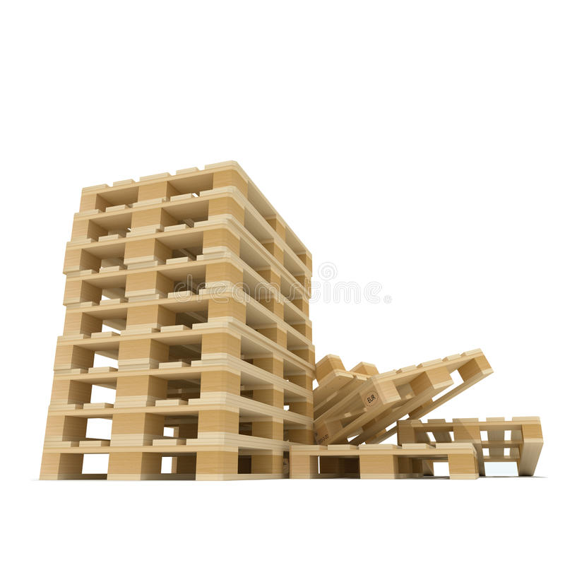 Pile of Euro pallets royalty free illustration