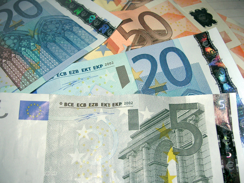 Pile of Euros stock image