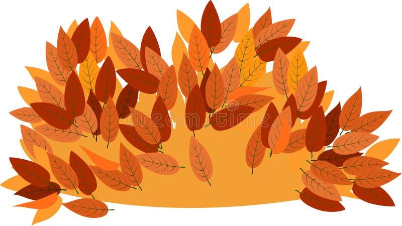 Pile of fall leaves. On white background vector illustration