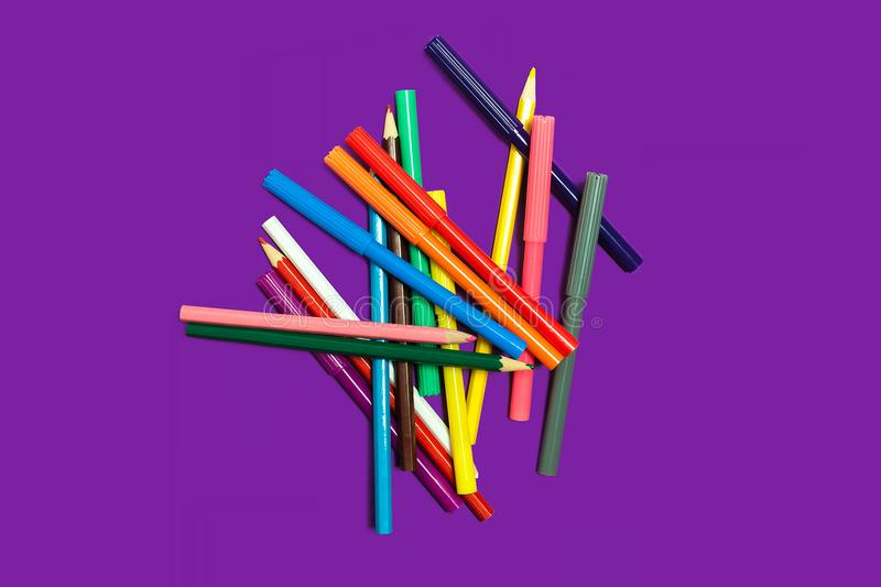 Pile of felt pens and pencils stock photo