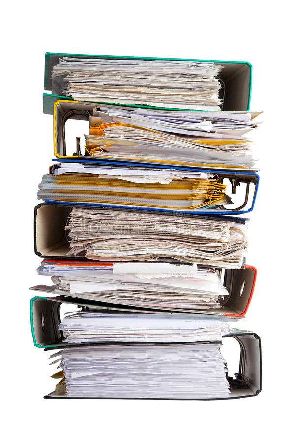 The pile of file binder with papers royalty free stock image