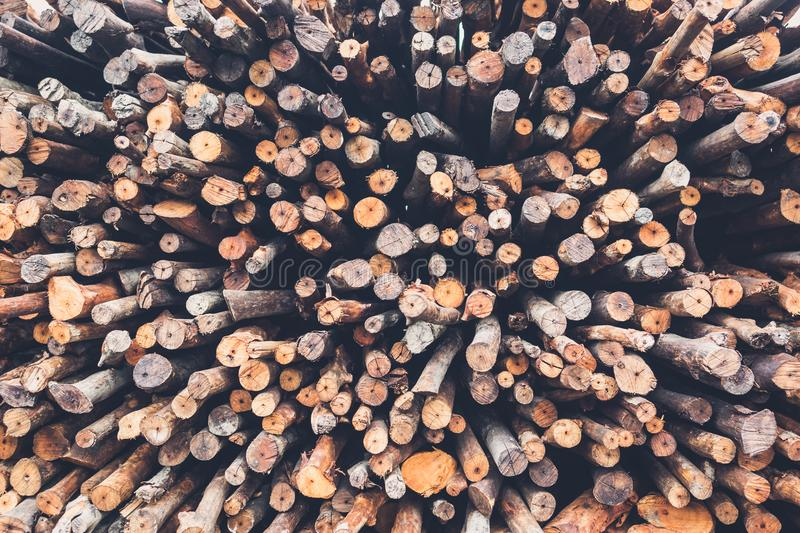 Pile firewood prepared for fireplace stock photo