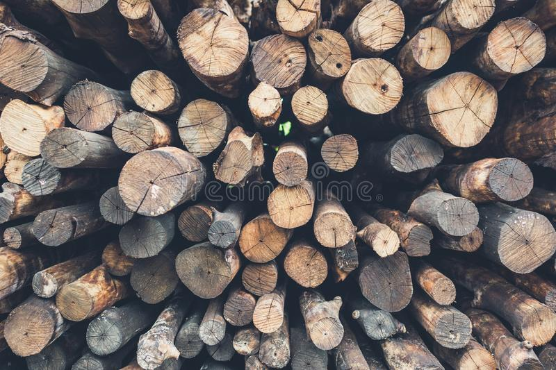 Pile firewood prepared for fireplace royalty free stock photo
