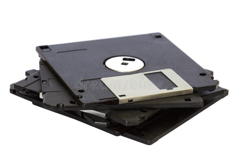 Pile of floppy discs stock images