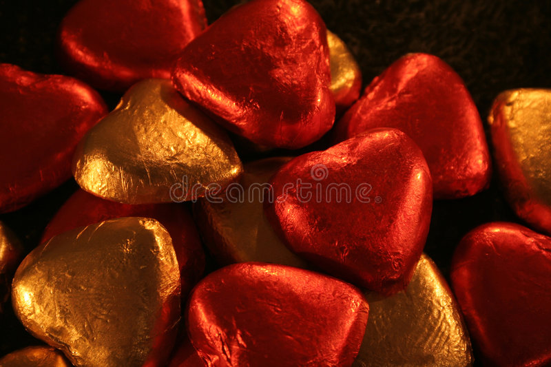 Pile Of Foil Hearts Stock Photography