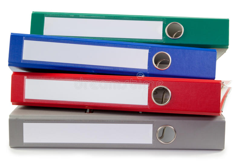 Pile of folders. Pile of four folders - isolated on white royalty free stock photos