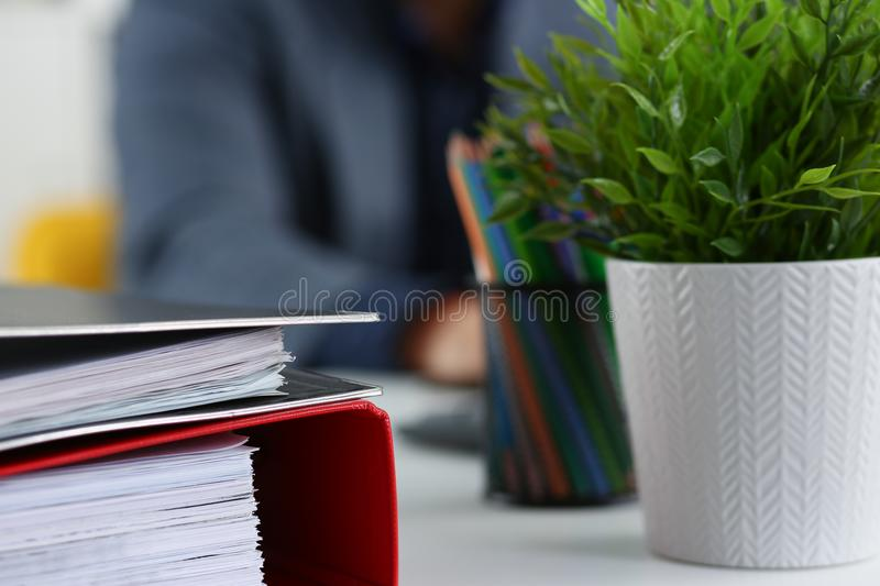 Pile of folders can with pencils closeup. Business concept stock images