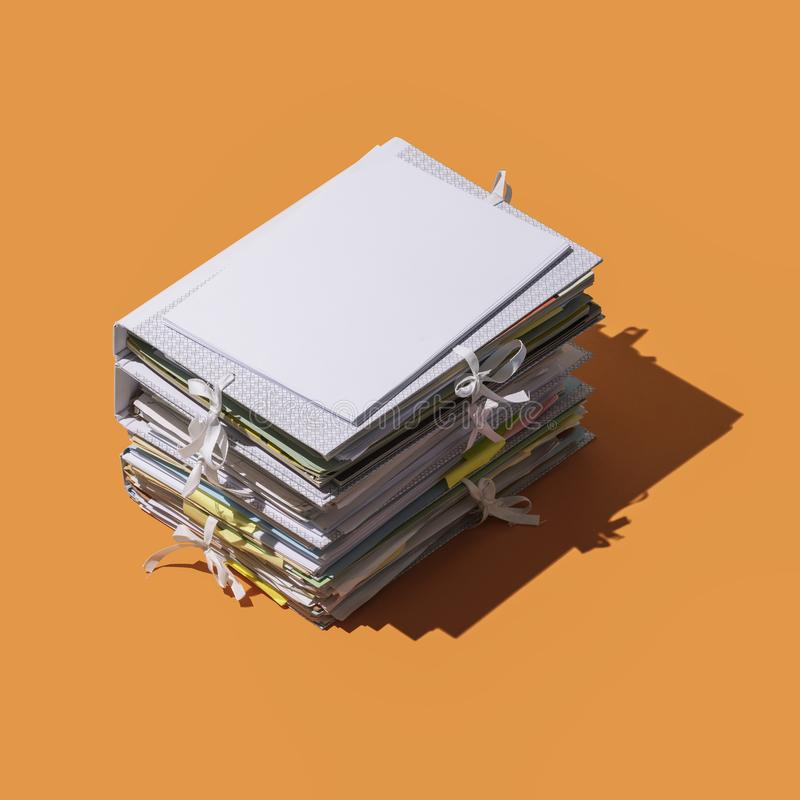 Pile Of Folders And Files  3D Icon Isolated Stock