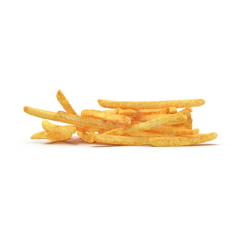 Pile Of French Fries Isolated On White Background. 3D Illustration stock illustration