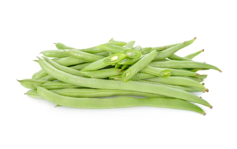 Pile of fresh french bean on white background. Pile of fresh french bean on a white background stock photography