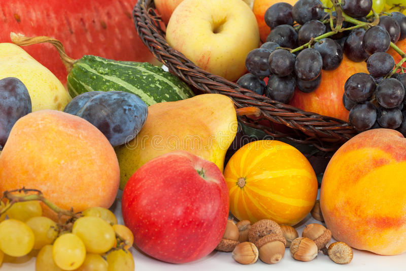 Pile of fresh fruits stock photography