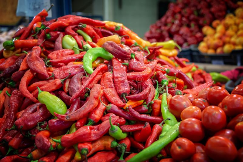 Pile of fresh hungarian paprikas at the market in Budapest Hungary royalty free stock image