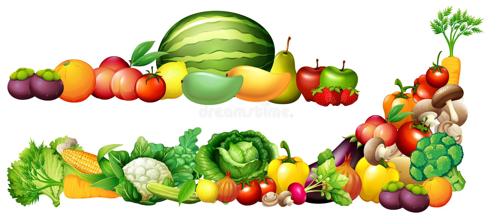 Pile of fresh vegetables and fruits royalty free illustration