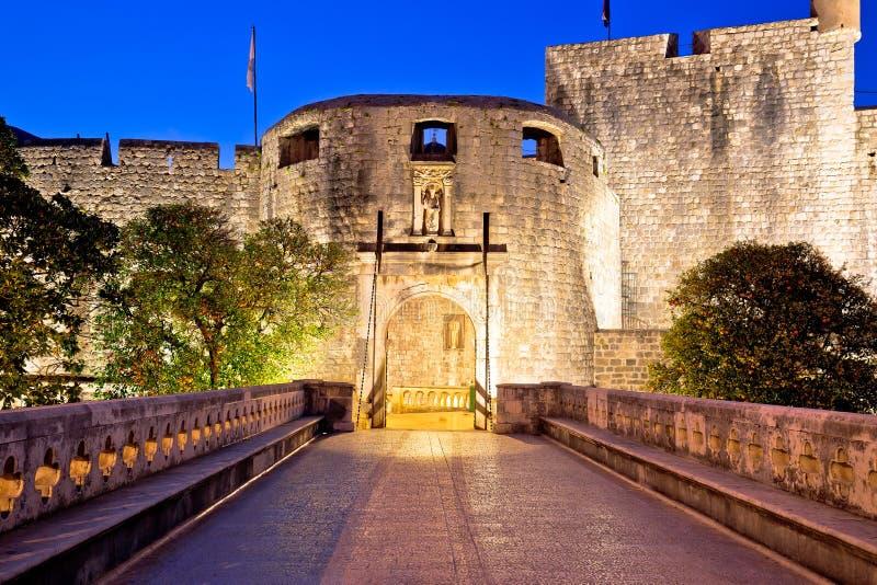 Pile gate entrance in town of Dubrovnik evening view. Dalmatia region of Croatia stock photos