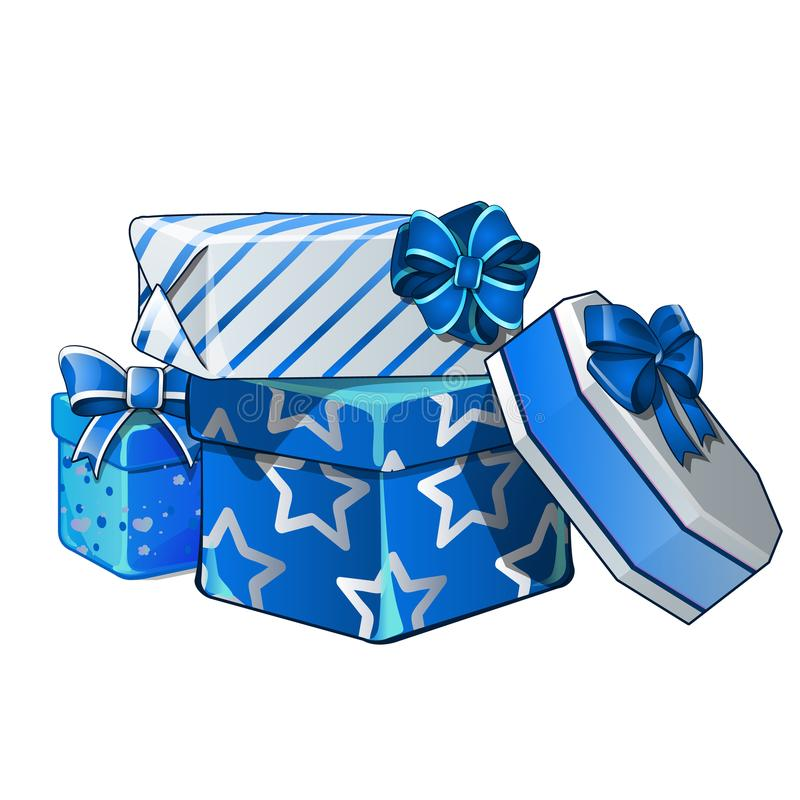 Pile of gift boxes wrapped in bright wrapping paper, isolated on white background. Vector cartoon close-up illustration. Pile of gift boxes wrapped in bright vector illustration