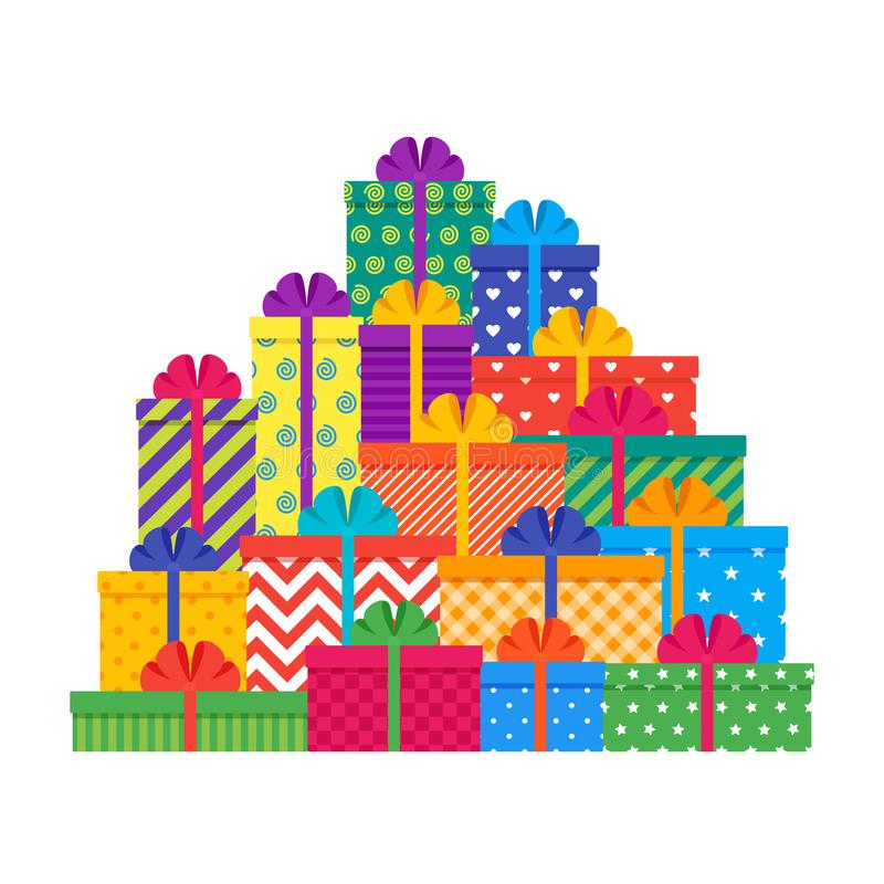 Big pile gift boxes. Set of colorful presents. Vector stock illustration
