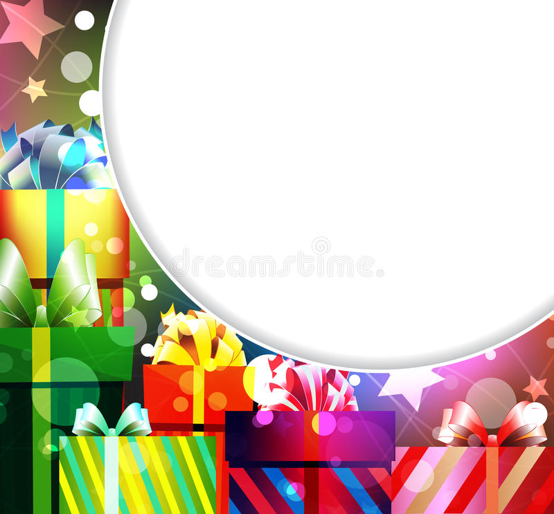 Pile of gifts. Gifts in bright packing on an abstract sparkling background royalty free illustration