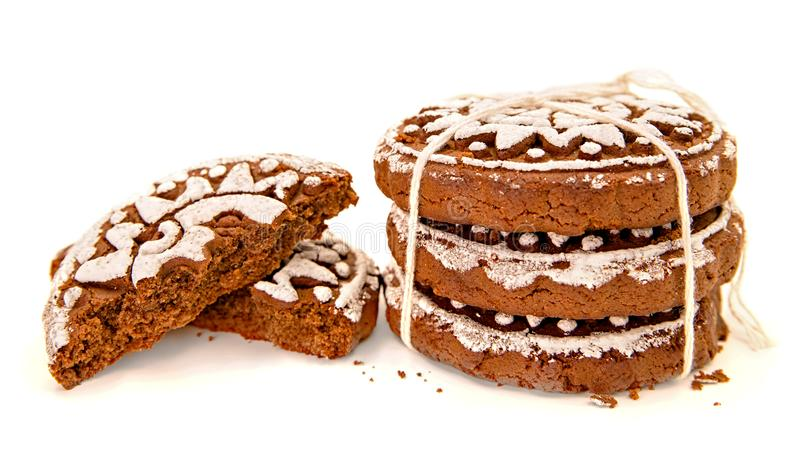 Pile of gingerbreads with two halves isolated on white with clipping path stock images