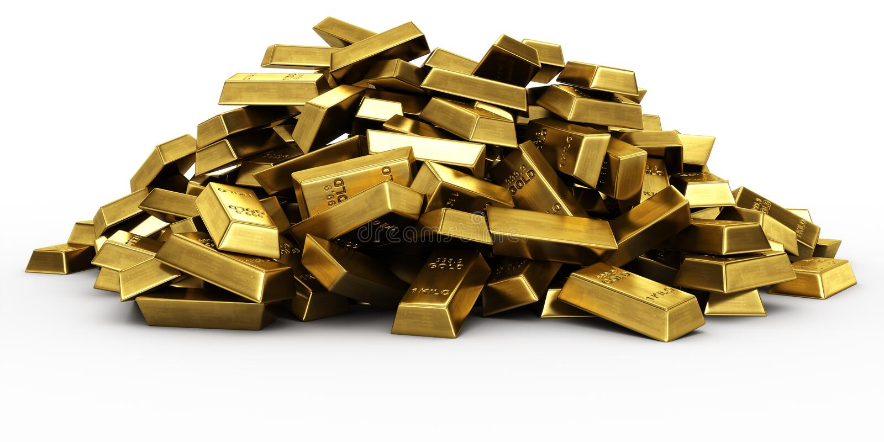 Pile of gold bars vector illustration
