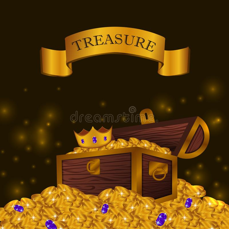 Pile of gold coin with treasure box with crown shiny glow finance gift surprise royalty free illustration