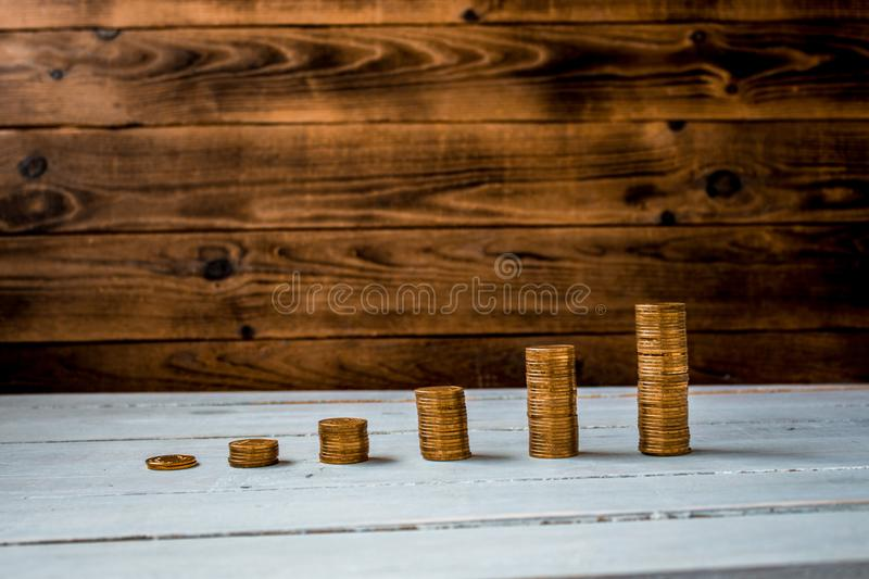 A pile of gold coins stock photography