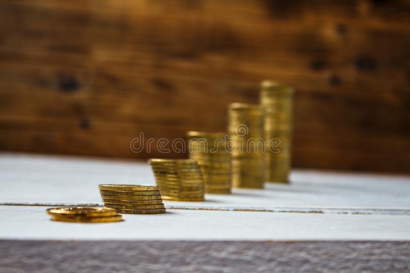 A pile of gold coins stock photos