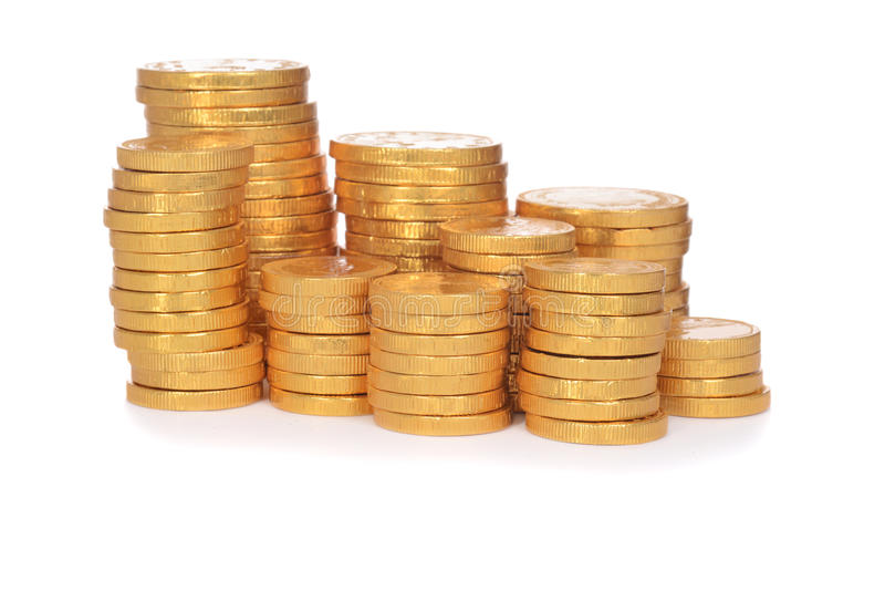 Pile of gold coins royalty free stock images