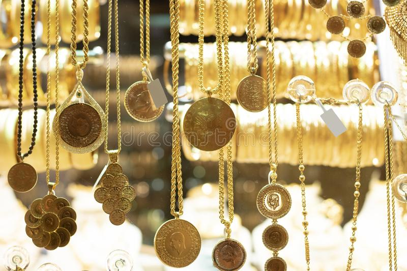 Turkish Gold Necklaces For Sale On A Stall Stock Photo