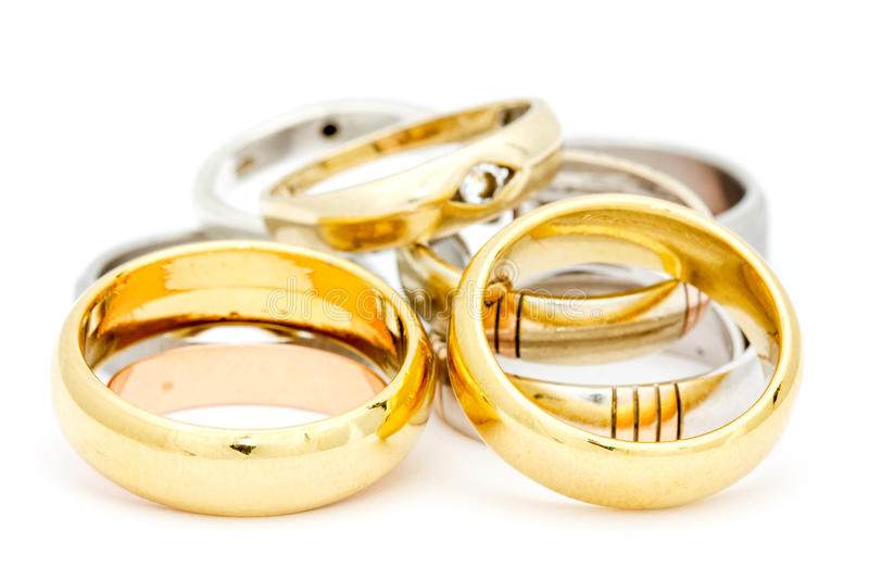 Pile of gold jewelry stock images