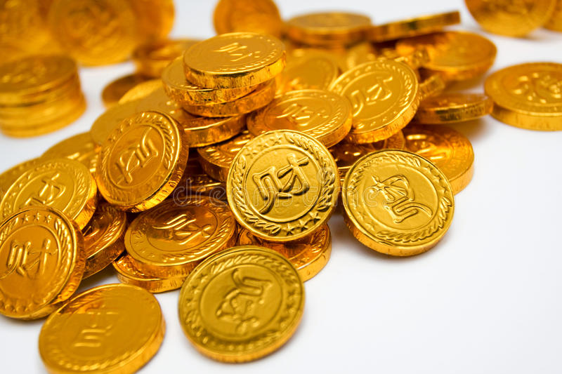 A pile of golden coins stock image