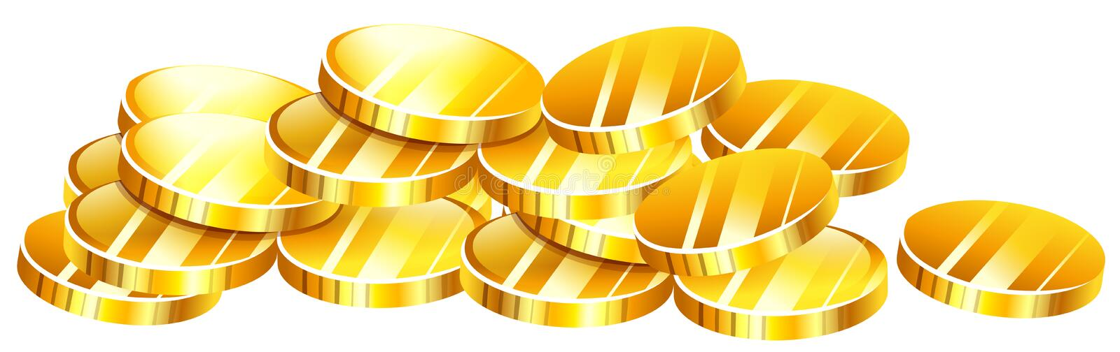 Pile of golden coins stock illustration