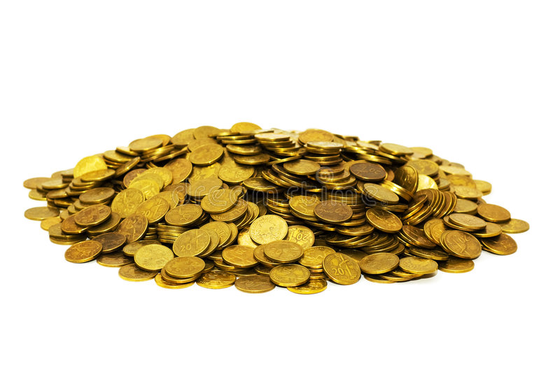 Pile of golden coins isolated royalty free stock image