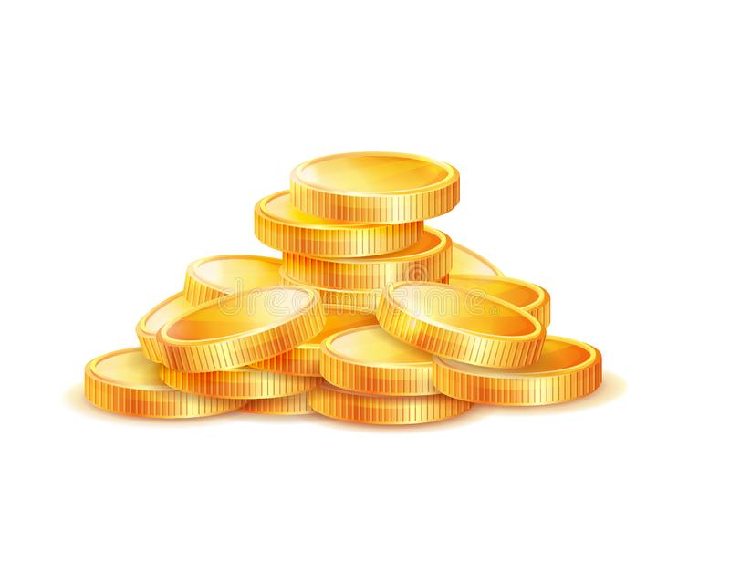 Pile of Golden Coins Vector Illustration Isolated royalty free illustration