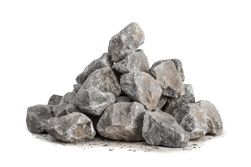 Pile of gravel 40-70mm. Pile of gravel for construction in 40-70mm size isolated on a white background stock photography