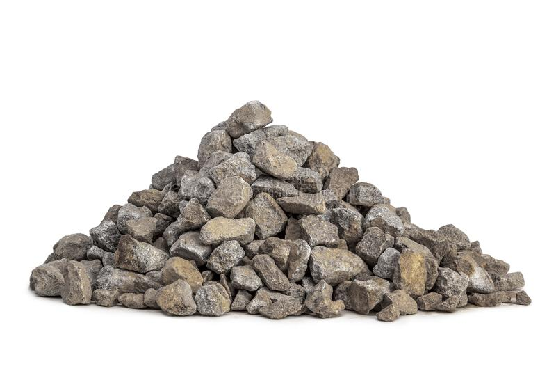 Pile of gravel 5-20mm. Pile of gravel for construction in 5-20mm size isolated on a white background stock image