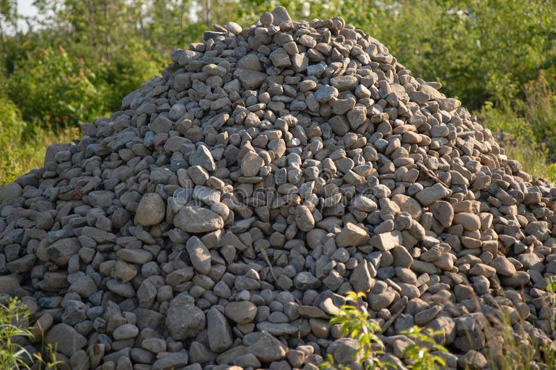 A Pile of Gravel in Summer for Building stock photos