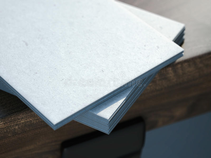 Pile Of Gray Business Cards On A Table. 3d Rendering Stock ...