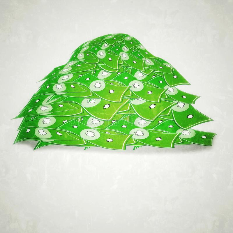 Pile of Green money clipart vector illustration