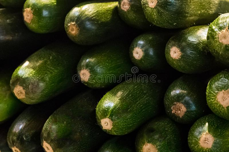 Pile of green zucchini many bright vegetables end background close-up base pattern royalty free stock photography
