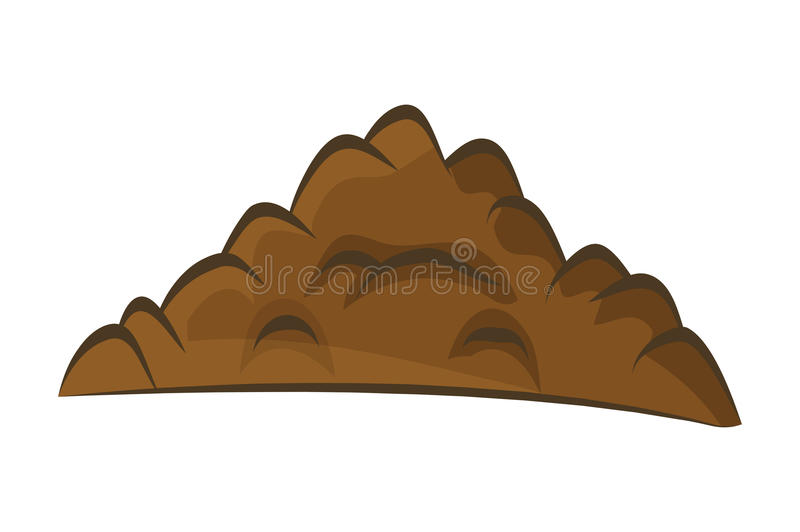 Pile of ground, heap of soil - vector illustration on w. Hite background stock illustration