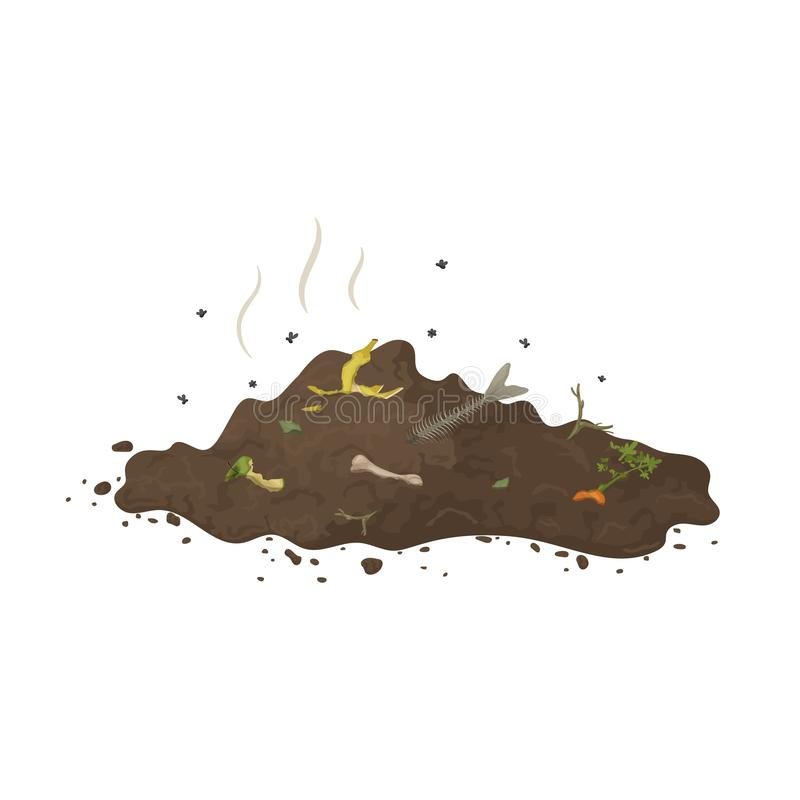 Pile of ground with organic garbage, flies and smell for illustration of compost, organic fertilizer, soil, agriculture. Zero stock illustration