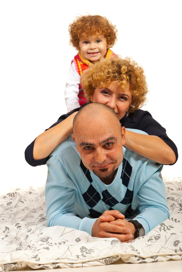 Pile of happy family royalty free stock image