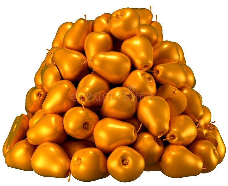 Pile or Heap of golden pears. Over white background. CG Render stock illustration