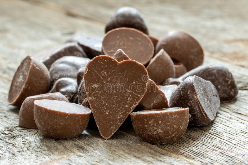 Pile of heart shaped chocolate candy royalty free stock photo
